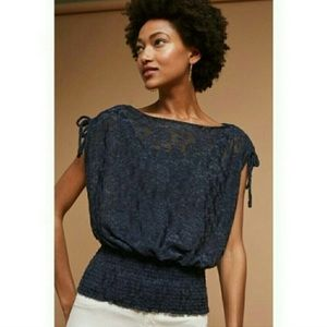Anthropologie Deletta Navy Lace Blouse M